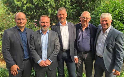 From left: Jacob Ilsøe (VP Buildings and Construction, Norconsult Denmark), Thomas Bolding Rasmussen (CEO Norconsult Denmark) Jens Kærsgaard (Partner KAAI), Niels Andersen (Partner KAAI), Egil Gossé (EVP Nordic Norconsult).